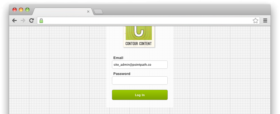 Contour Content Login Screen